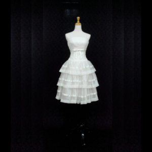 米白蕾絲蛋糕裙伴娘服/小禮服